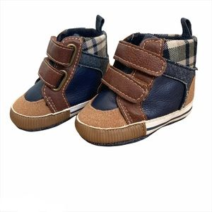 KoalaBaby Boys Hightop Tan & Navy Soft Sole Bootie With Velcro Straps